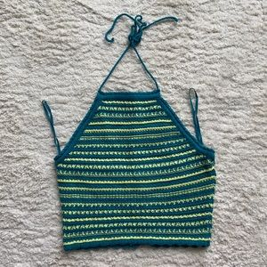 Garage crop top knit blue and yellow new